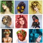 Coiffures féminines décorées de fleurs multicolores